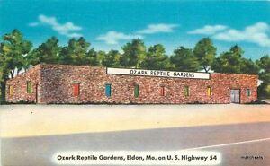 1940s-Roadside-Ozark-Reptile-Gardens-Eldon-Missouri-linen-MWM-postcard-1740