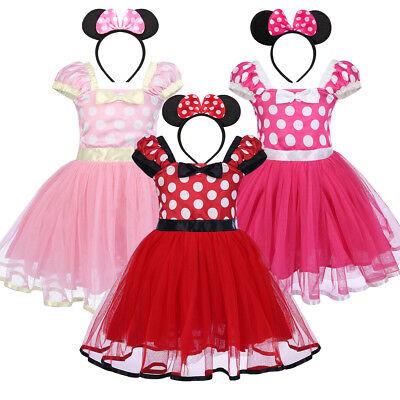 2PCS Kids Baby Girls Minnie Mouse Princess Tutu Dress Headwear Party Outfits Set