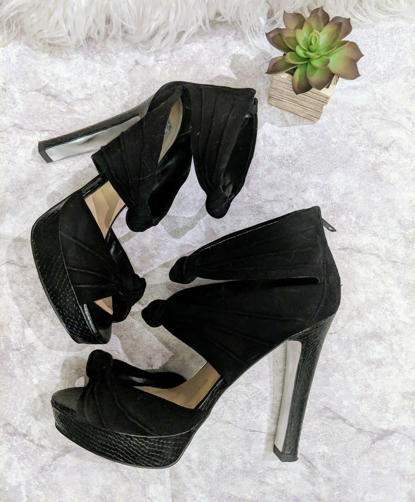 H Halston damen damen damen 7.5 schwarz suede leather knot platform pump heel  298 bacc69