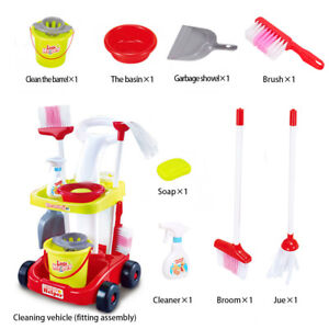 Housekeeping-amp-Cleaning-Trolley-Playset-Mini-Clean-Up-Cart-for-Childrens-Toy