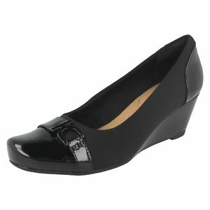 3bb0f861612 Details about LADIES CLARKS SLIP ON OFFICE FORMAL WEDGE PUMPS COURT SHOES  SIZE FLORES POPPY