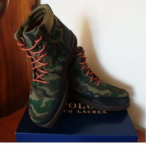 Polo Ralph Lauren Bearsted Boots Green Camo Sueded Leather Men's New 9 D