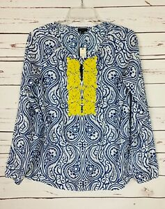 TALBOTS-Women-039-s-S-Small-New-Tags-Blue-White-Beaded-Spring-Blouse-Top-Shirt-79