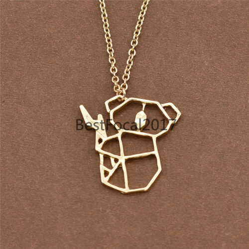 Cute Origami Koala Pendant Necklace Plated Chain Charms Jewelry for Women Party