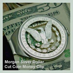 Morgan-Silver-Dollar-Cut-Coin-Men-Birthday-Money-Clip-Anniversary-Graduation
