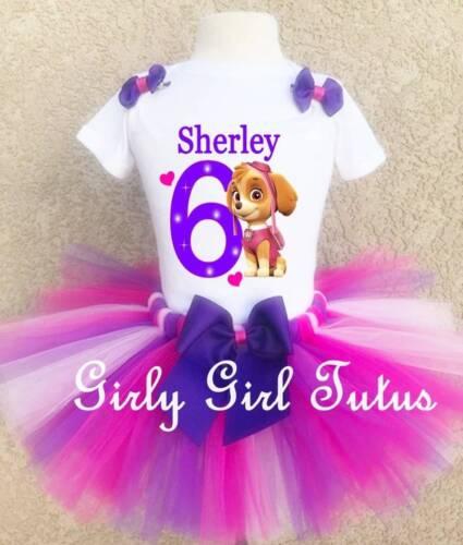 Girls Paw Patrol Skye Birthday Tutu Outfit Party Dress Set Gift