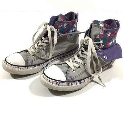 Junior Converse Grey Purple Back