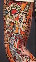 Punk Tattoo Sleeve Joker Mom Dagger Snake Spark Plug Adult Mens Womens Costume
