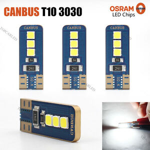 4 x Error Free Canbus T10 3030 6 SMD  LED White Car Side Light 360LM Bulbs