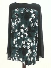 VINCE CAMUTO Shirt Blouse Tunic Black//Green FLORAL SHEER Dressy Women/'s $69