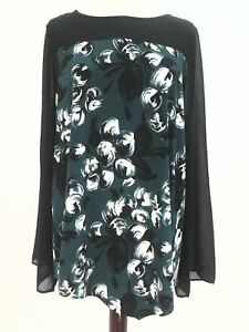 VINCE-CAMUTO-Shirt-Blouse-Tunic-Black-Green-FLORAL-SHEER-Dressy-Women-039-s-69