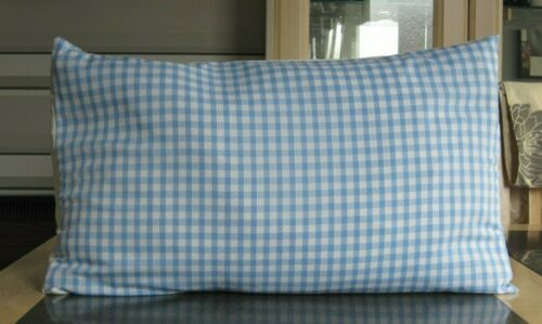 SHABBY CHIC PALE BLUE AND WHITE GINGHAM DESIGN CUSHION COVERS DESIGN 2