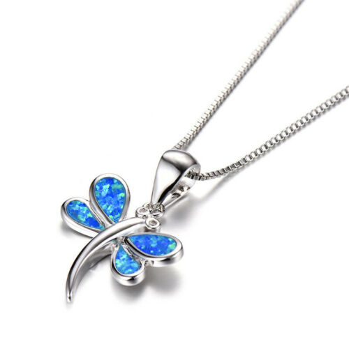 925 Silver Necklace Blue Fire Opal dragonfly Pendant Xmas Birthday Gift Jewelry
