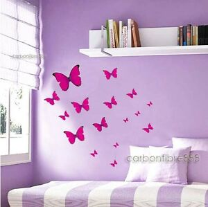 Image Is Loading 20x Hot Pink Butterflies Wall Stickers Home Art  Part 25