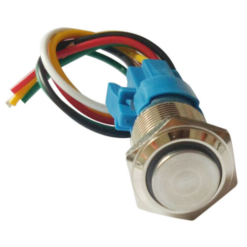 16mm 12-24V LED Ring Push Button Switch Waterproof Metal Self-reset Switch