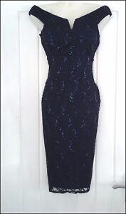 QUIZ-Navy-Sequin-Lace-Bardot-Pencil-Wiggle-Pin-Up-Evening-Party-Dress-UK-8