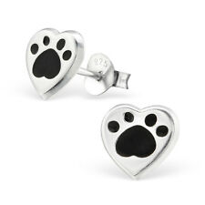 Sterling Silver 925 Black Dog / Cat Paw Print Heart Stud Earrings