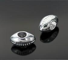 Silver Tone Football Beads Fit European Charm Bracelets - Sports Pigskin Charms