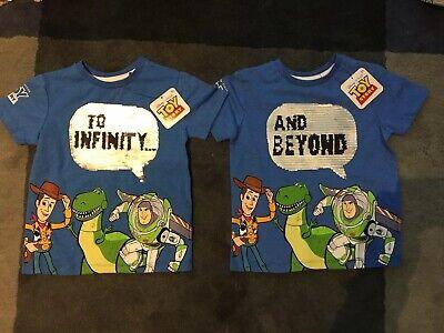Toy Story 4 Primark Boys 3-4 Years Summer T-shirt Top Disney Pixar Blue Sequins