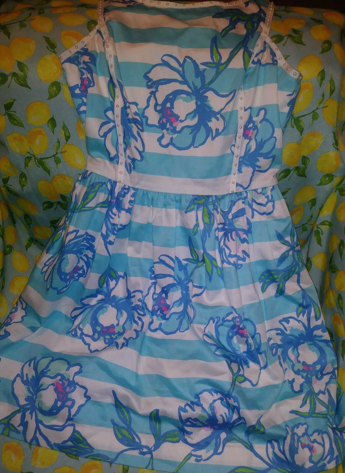 Lilly Pulitzer Sandrine Shorely Blau  Tossing The Line Pearl Detail Dress Sz 2