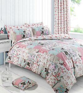 Patchwork-Floral-Boutique-Rosa-Funda-De-Edredon-Juego-De-Cama-Conjunto-de-Edredon-Cortinas