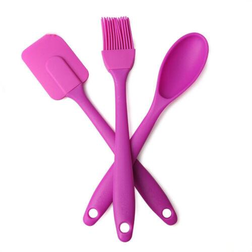 3Pcs Silicone Cuisson Spatule Cuillère Set grattoir pinceau à pâtisserie cuisine maison cuisine