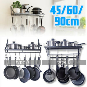 Kitchen-Wall-Mounted-Pot-Pan-Rack-Holder-Cookware-Storage-Shelf-Hanger