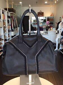 cfa304af496d Yves Saint Laurent YSL Black Leather Y Rock Tote Handbag Purse Pick ...