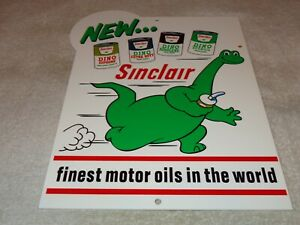 VINTAGE-SINCLAIR-DINO-DINOSAUR-MOTOR-OIL-12-034-METAL-SERVICE-STATION-GASOLINE-SIGN