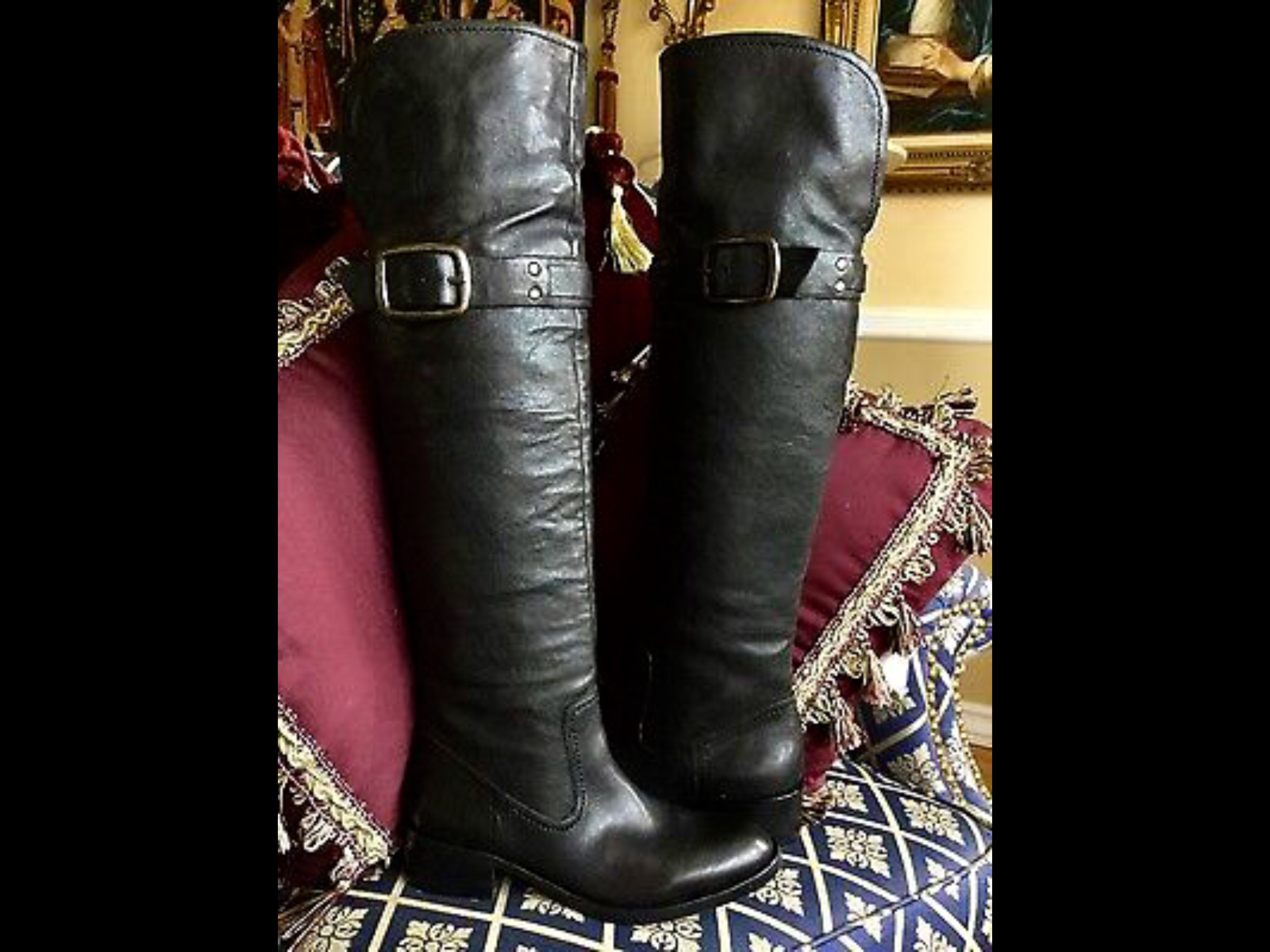 Jessica Simpson LEATHER OVER OVER OVER KNEE BOOTS Black 6 6.5 e16d84