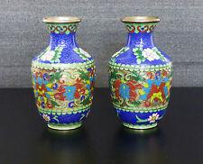 2x China Email Cloissone Vasen chinese enamel emaille vase
