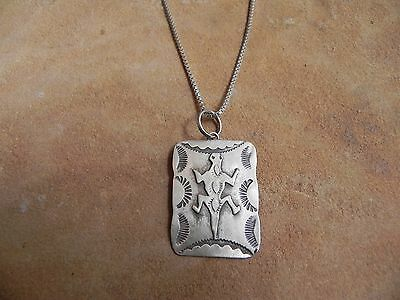 """Stamped Sterling Silver Lizard Pendant & Chain 20"""" by LP Lena Platero Navajo"""