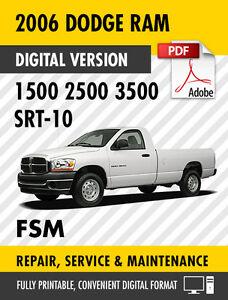 2006 dodge ram trucks 1500 2500 3500 srt 10 factory repair service rh ebay com 2005 Dodge 1500 2005 Dodge 1500