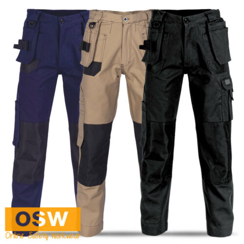 MENS 14-POCKET AIR FLOW WORK TROUSERS TRADIE BUILDER COTTON CARGO PANTS POCKETS
