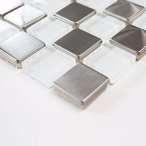 Das Bild Wird Geladen Mosaik Mix Weiss Klar Glas Alu Mosaik Fuer
