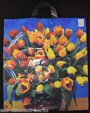 NEU 50 Plastiktüten Tragetaschen im Tulpen Look Bunt 47x43cm Neutral TOP