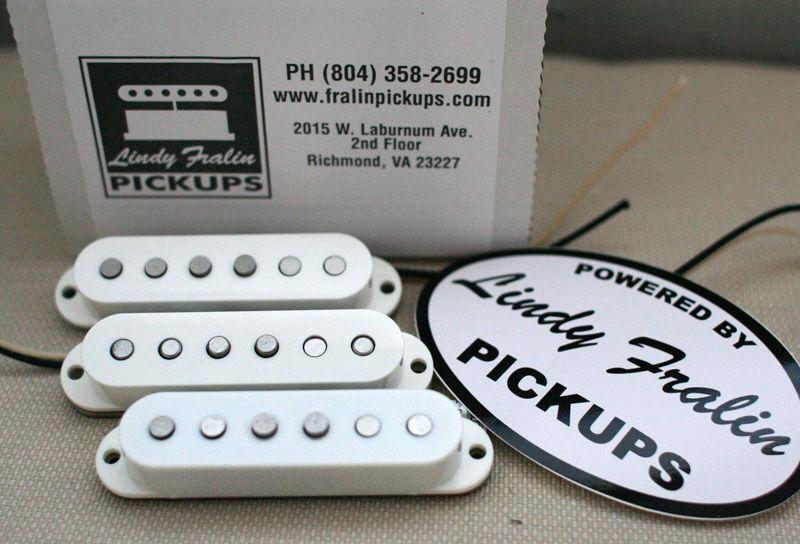 Neu Lindy Fralin Real 16.5ms Strat Gitarre Pickup Set von 3 Weiß Bodenplatte USA
