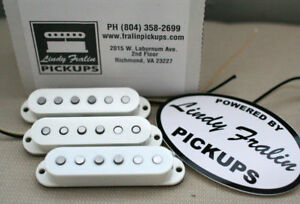 New Lindy Fralin Woodstock 69 Strat Guitar Pickup Set White Baseplate Made inUSA