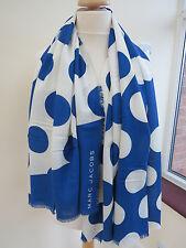 NEW! Marc jacobs Big Spot WOOL/Viscose scarf Shawl RRP£159 BLUE Slight Second