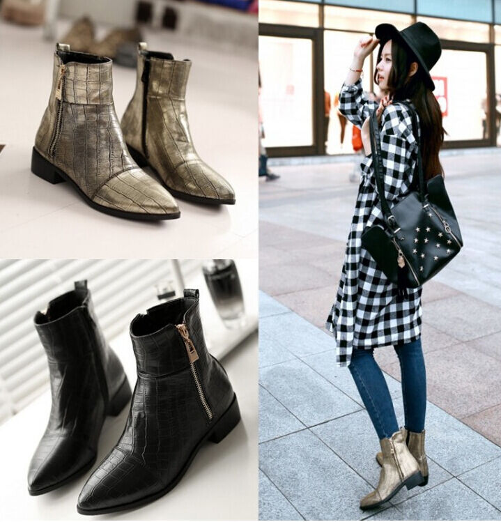 Amazing womens ankle boots pointed toe flats snakeskin PU leather Metal color K9