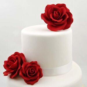 Surprising 3 Single Red Roses Sugar Flower Wedding Birthday Cake Decoration Birthday Cards Printable Trancafe Filternl