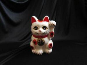 Vtg-Ceramic-Maniki-Neko-Left-Paw-Lucky-White-Cat-Coin-Bank-Blue-Sticker-Japan