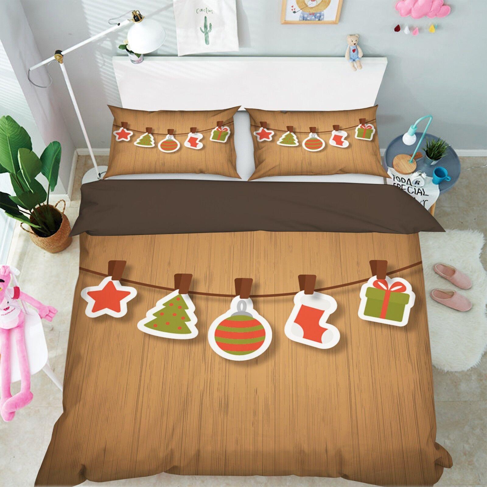 3D Weihnachten 10 Bed Pillowcases Quilt Duvet Cover Set Single Queen King UK