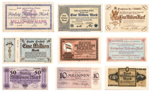 Set-of-9-Weimar-Germany-Inflationary-Notes-c-1923-SKU50325