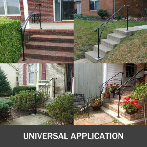 Iron Handrail Arch Fits 1//2//3//4 Steps Matte Black Stairs Buildings House Villa
