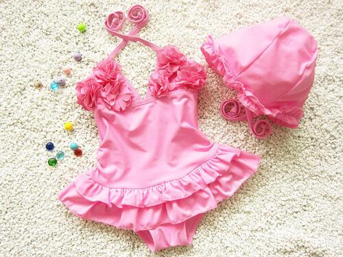 Details about  /kids Toddler baby girls One Piece Flower Bikini /& skirt+Hat Sets Swimwear New