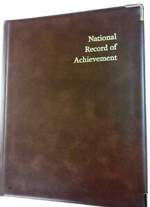 NATIONAL-RECORD-OF-ACHIEVEMENT-PVC-A4-FOLDER-IN-BROWN-LEATHER-LOOK-GOLD-PRINT
