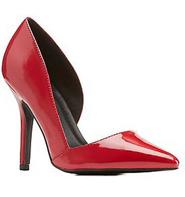 NEW Red D'orsay High Heel pump pointed toe work office court women Shoes Size 8