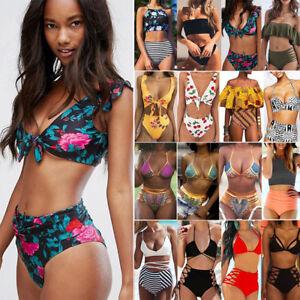 e9dc08a223 Details about Womens Floral Bikini Set Crop Top High Waist Shorts Beach  Bathing Suit Swimsuit