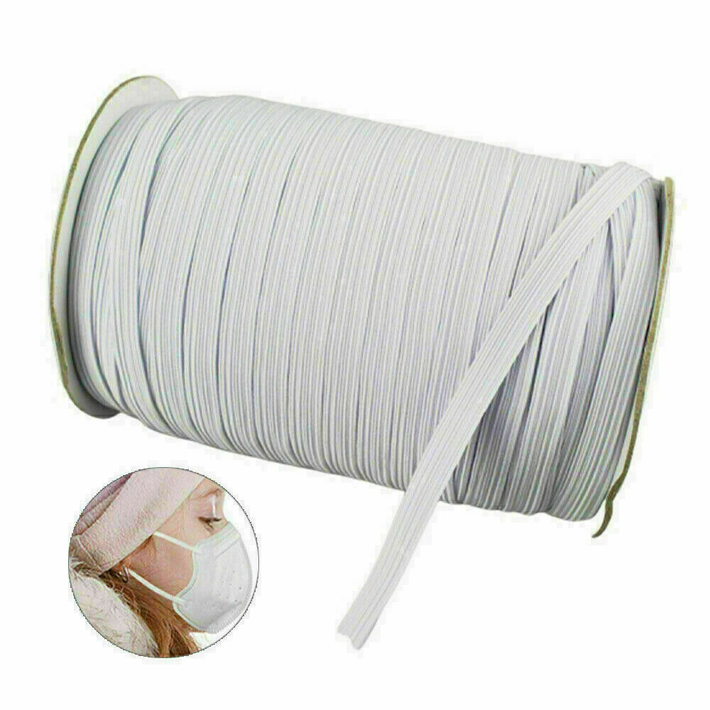 "100/200 Yards Braided Elastic Band Cord Knit Band Sewing DIY 1/4""/6mm Bulk Roll 7"